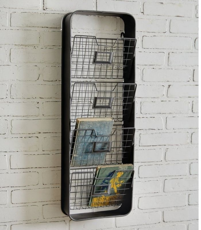 Vertical wire rack with four storage bins
