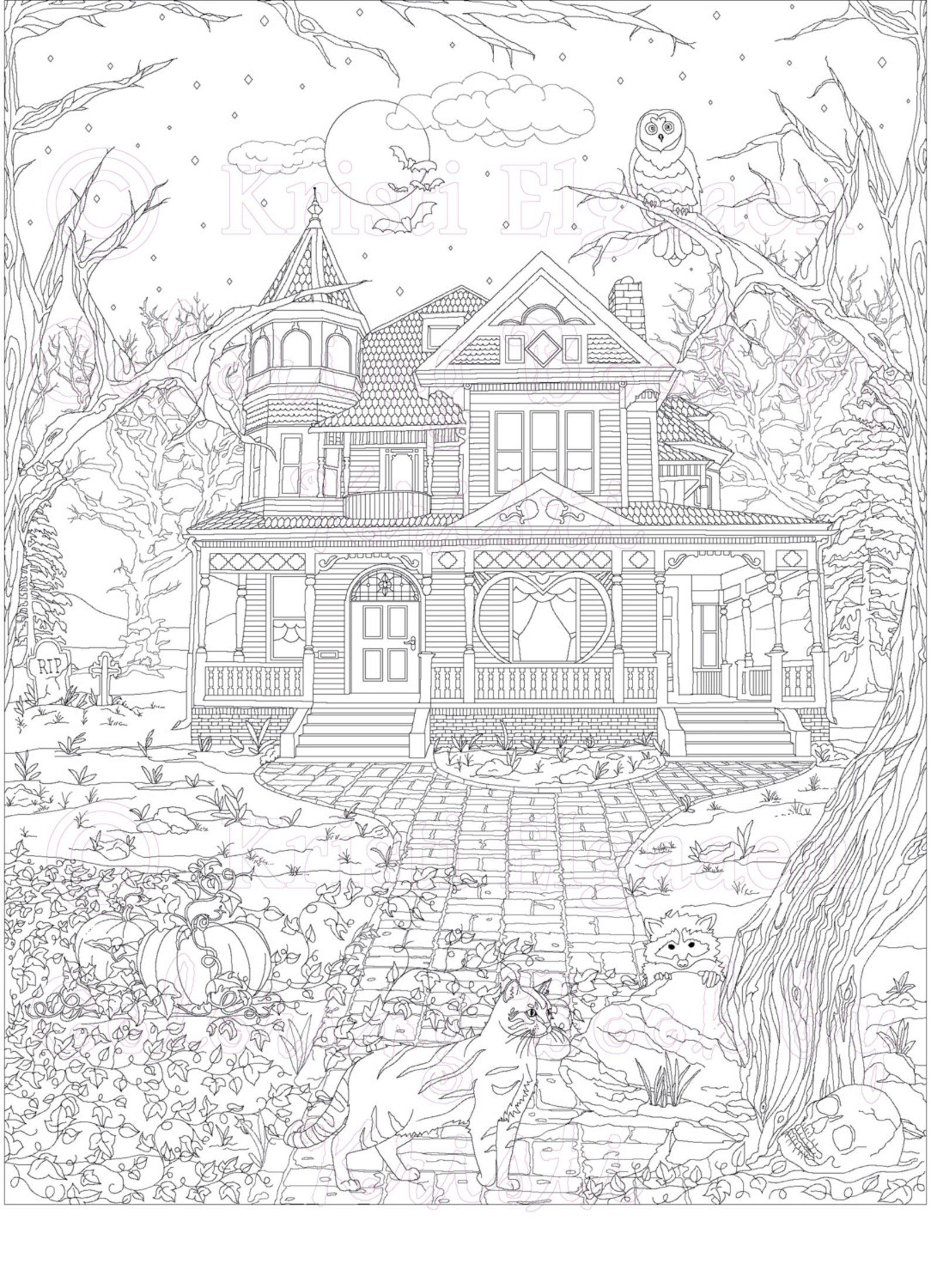 coloring book design of a Victorian mansion with cats and raccoons outside