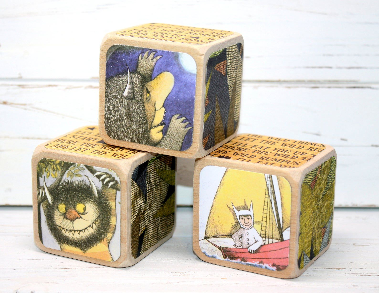 Image of Where The Wild Things Are wooden blocks.