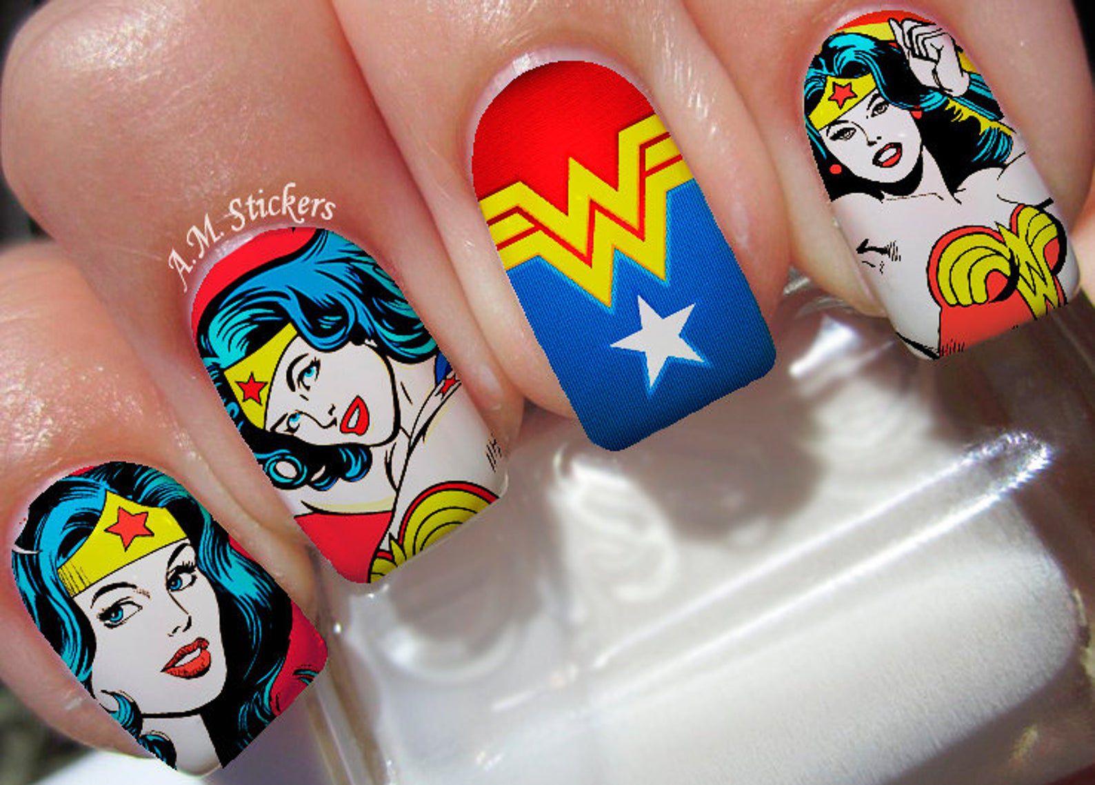 Image of Wonder Woman nail decals