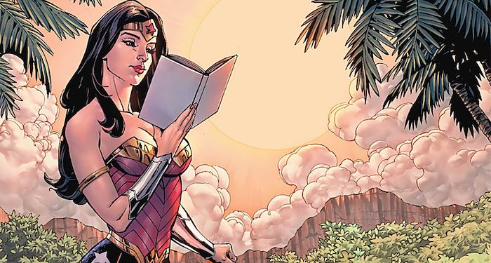 wonder woman reading comics panel