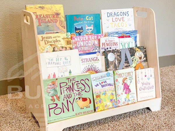 image of wooden montessori bookshelf