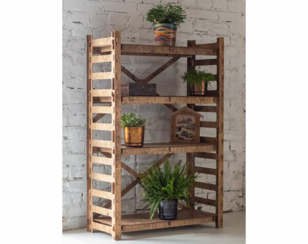 Tall wooden bookcase with open slatted sides