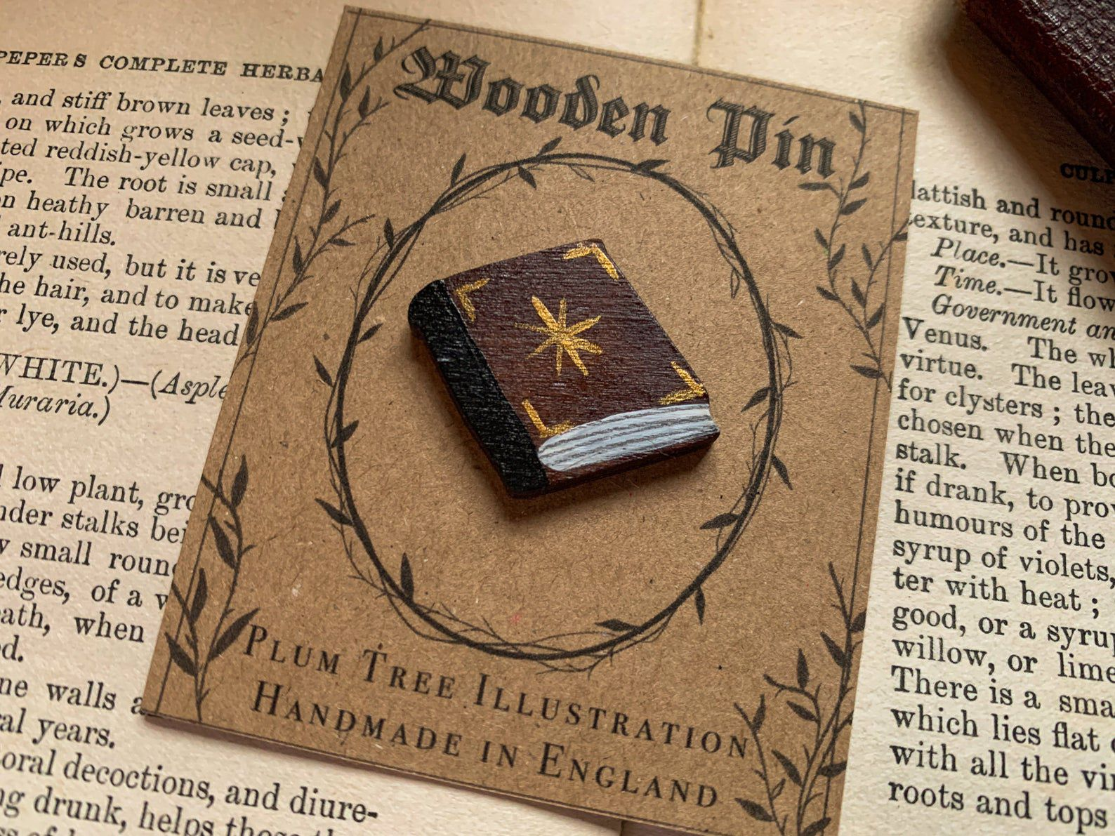 Image of brown wooden pin in the shape of a book.