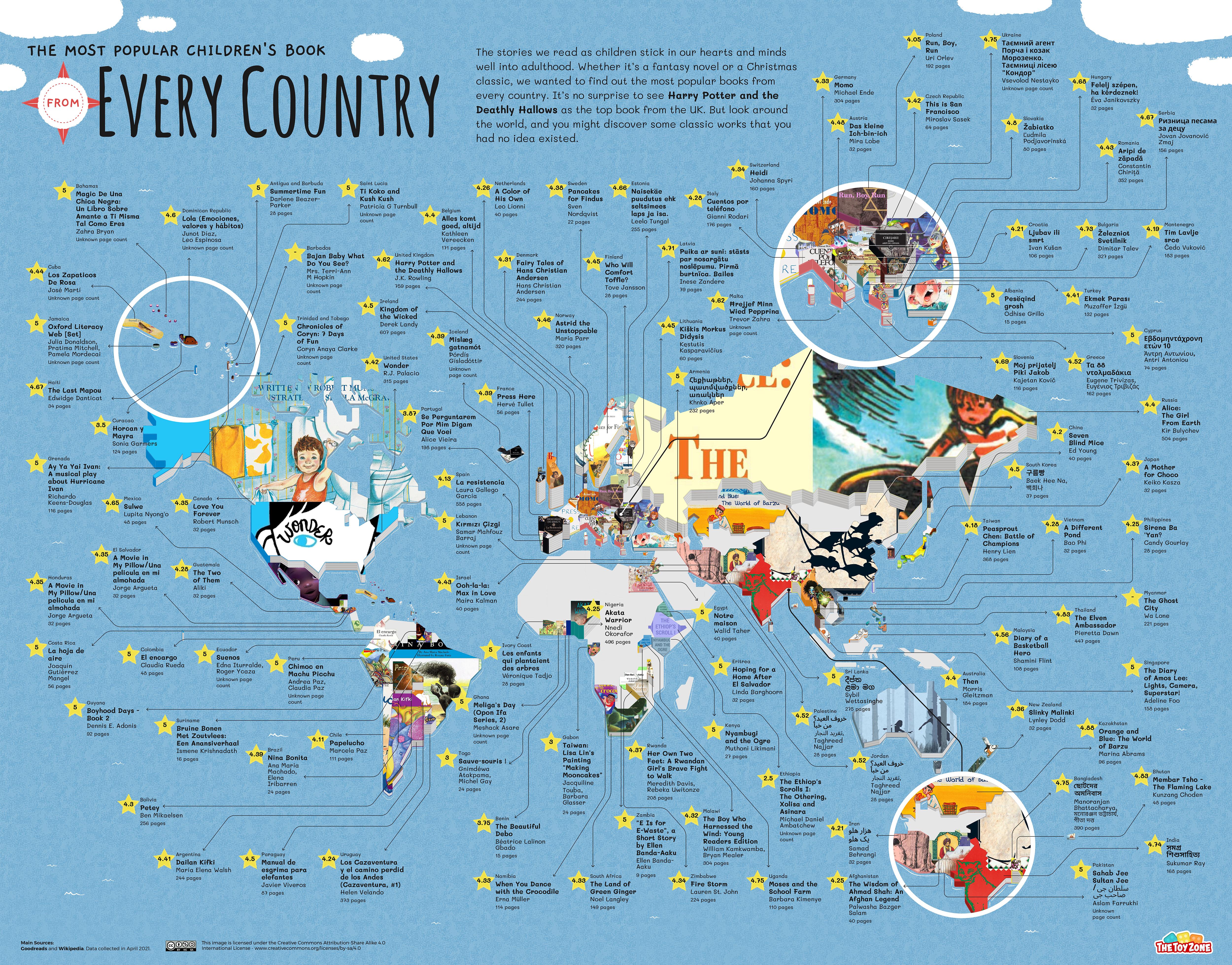 Most popular children's books world map
