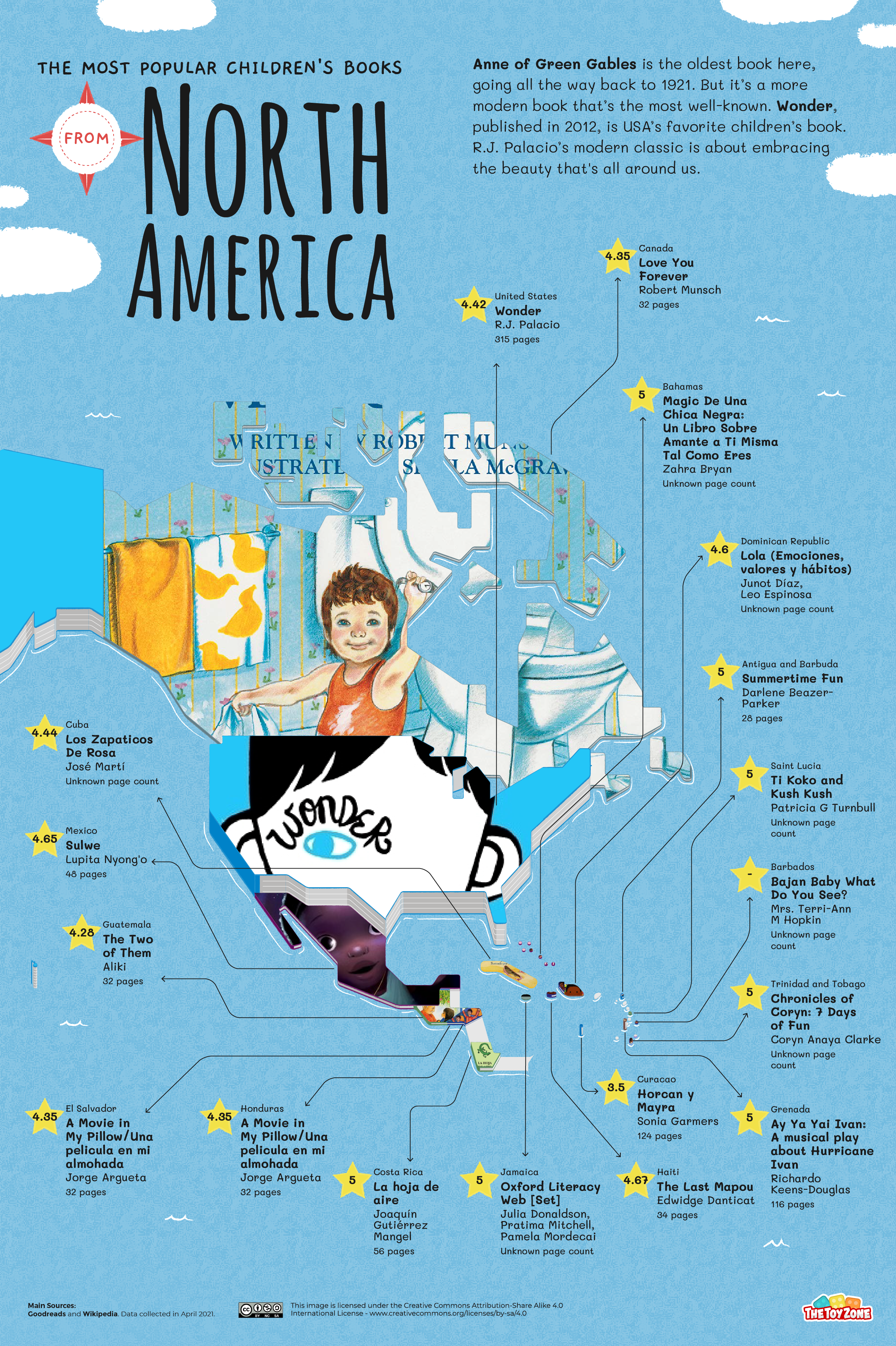 Most popular children's books in North American map