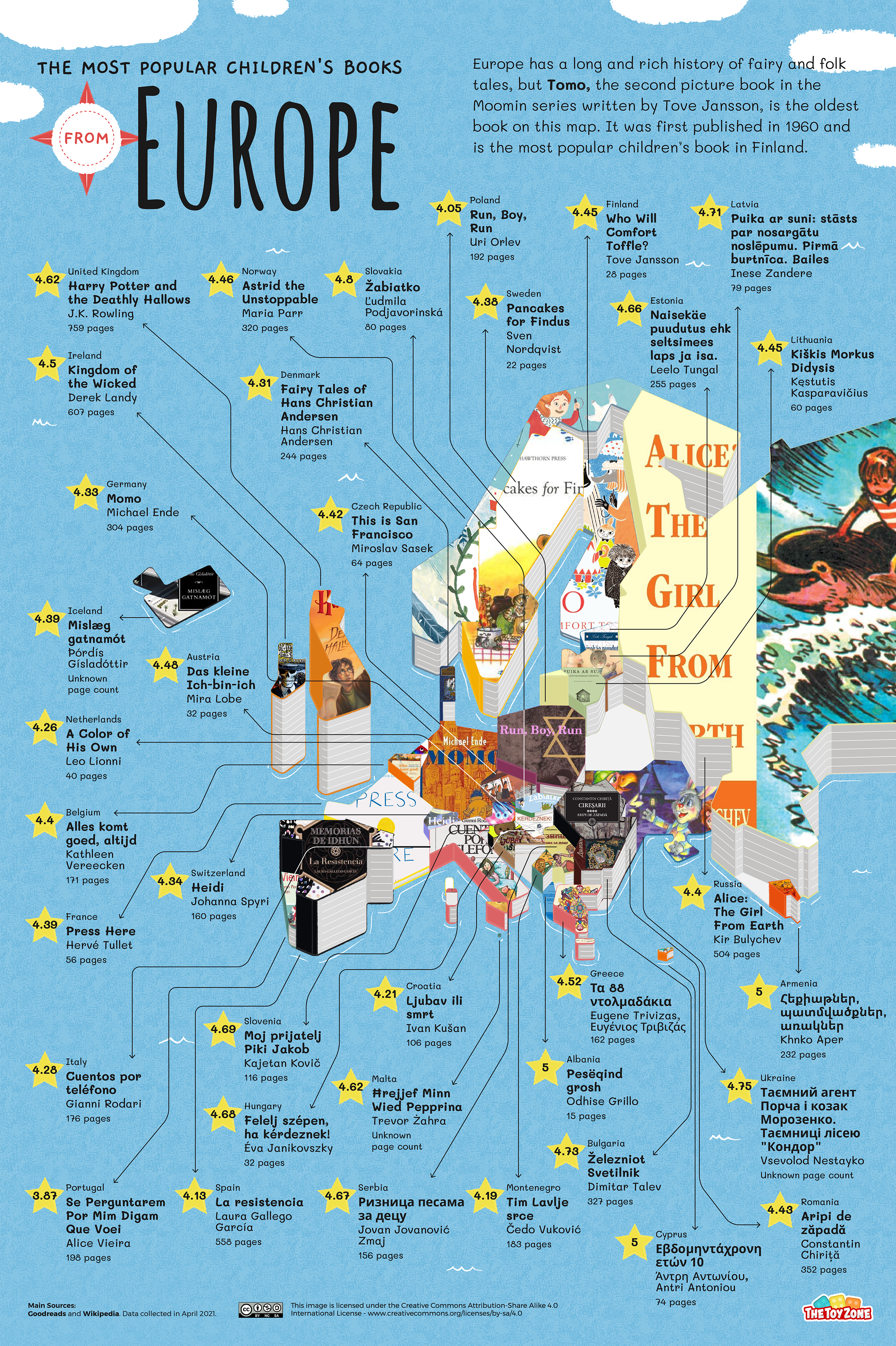 Most popular children's books in Europe map