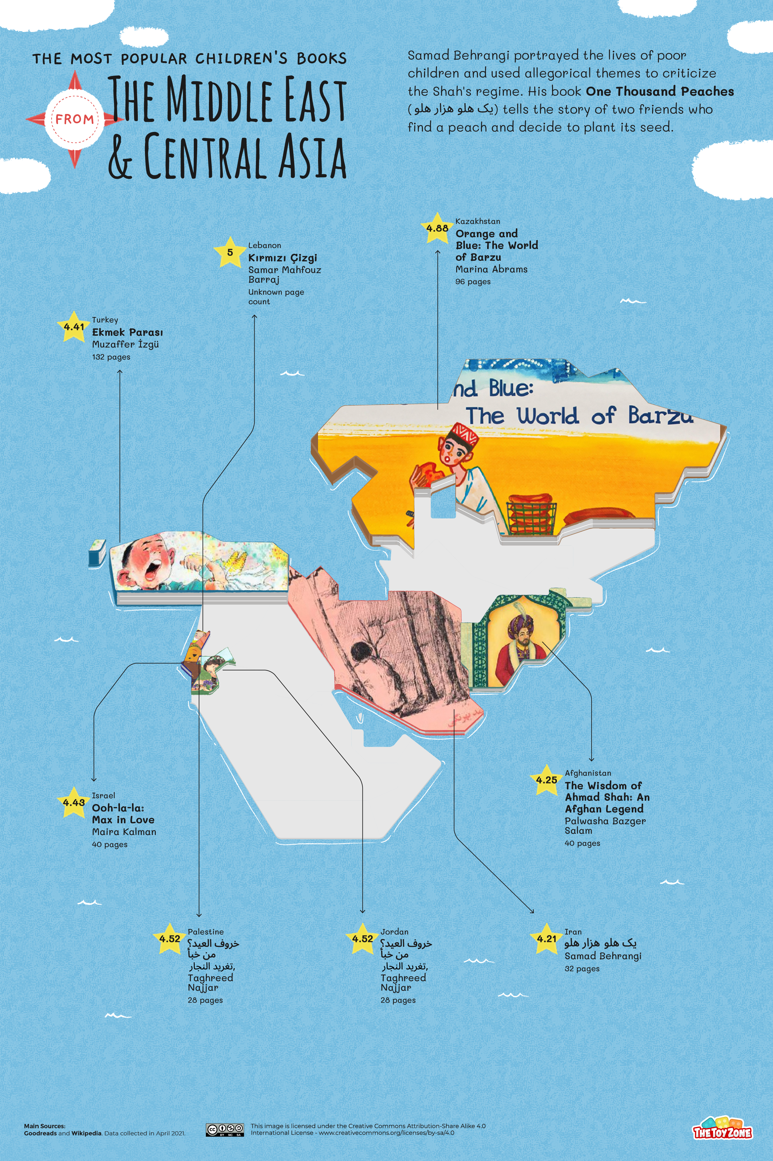 Most popular children's books in Middle East and Central Asia map