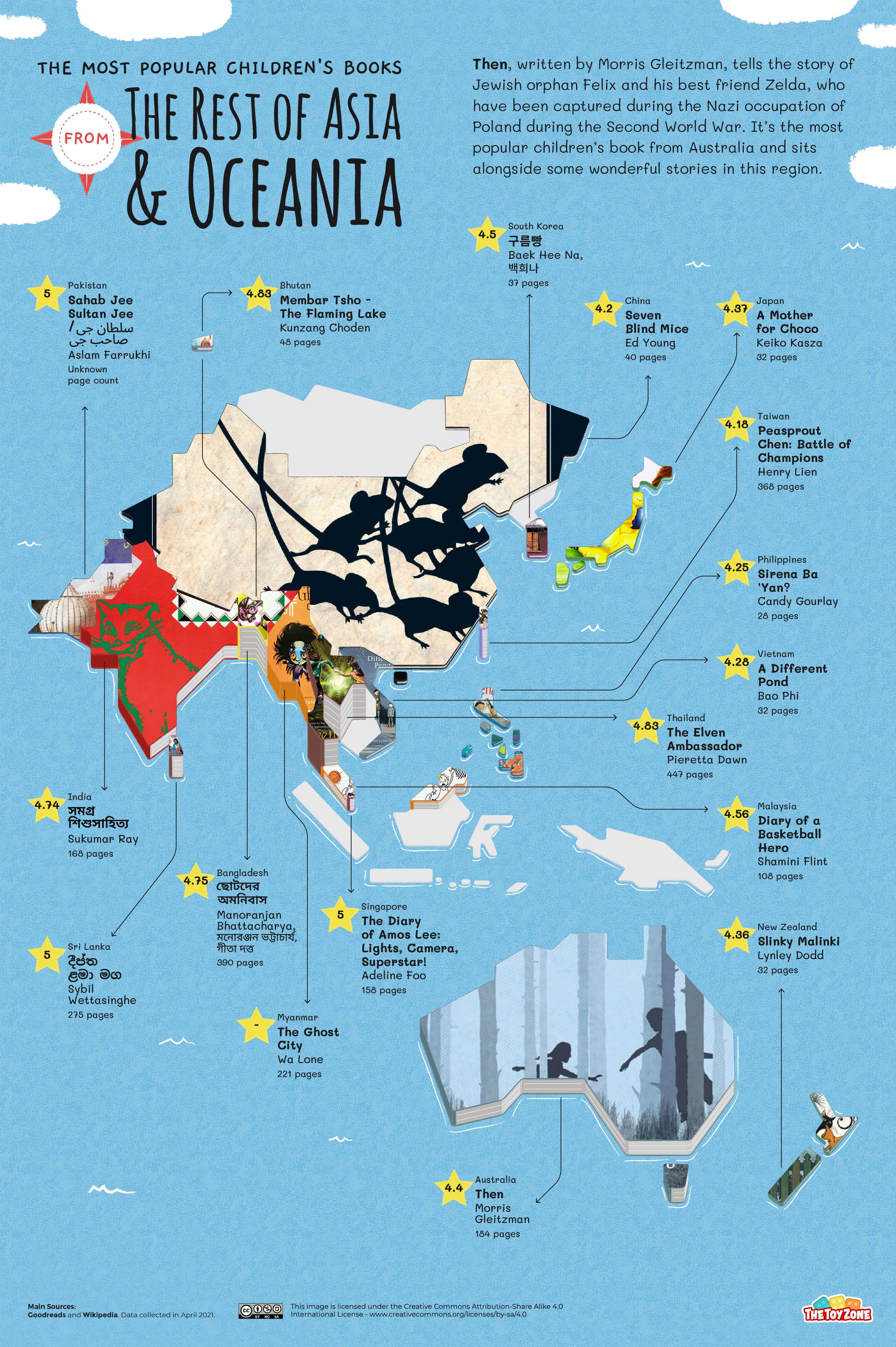 Most popular children's books in Asian and Oceania map