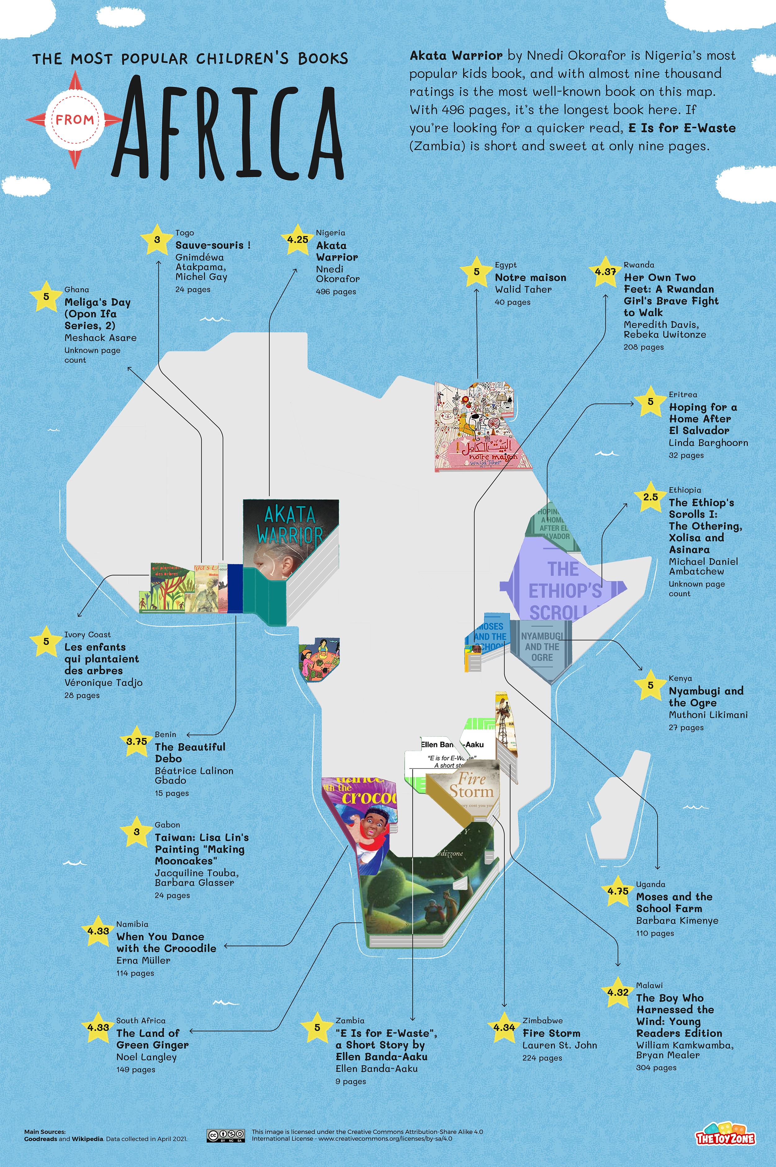 Most popular African children's books map