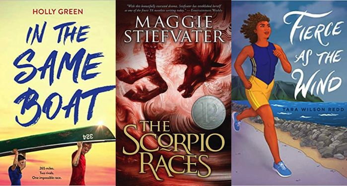 collage of three book covers: On the Same Boat by Holly Green; The Scorpio Races by Maggie Stiefvater and Fierce As the Wind by Tara Wilson Redd
