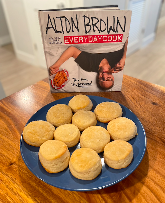 EveryDayCook book with plate of buttermilk biscuits