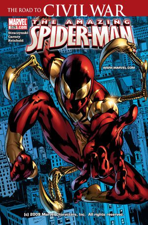 Image of Road to Civil war The Amazing Spider-man comic book cover featuring Iron Spider.  https://m.media-amazon.com/images/I/61ke+RcUhFL._SY346_.jpg