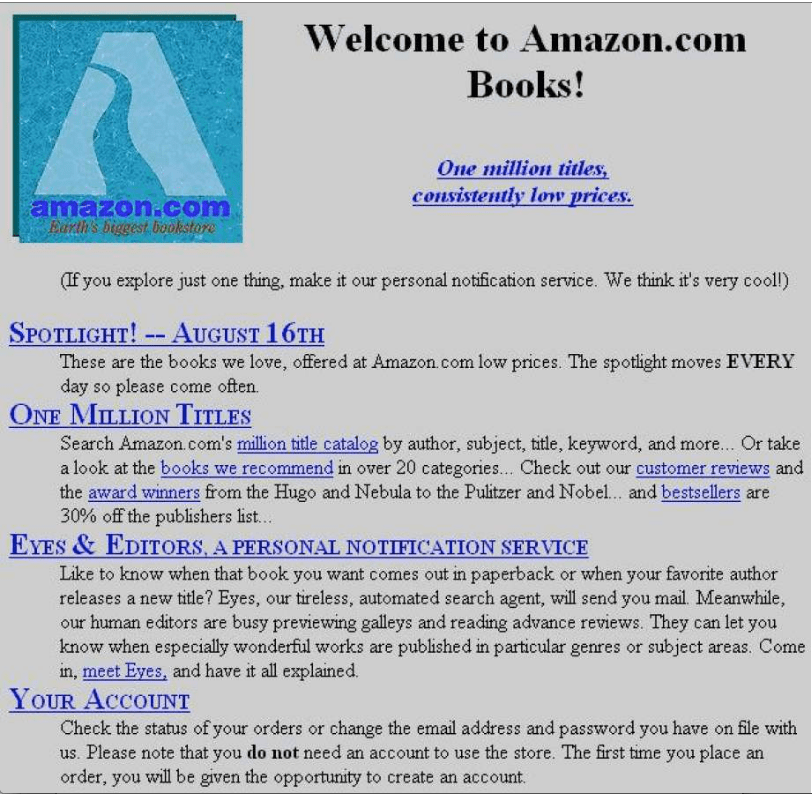 An image of Amazon's first website from 1995. Ret. from VersionMuseum.com