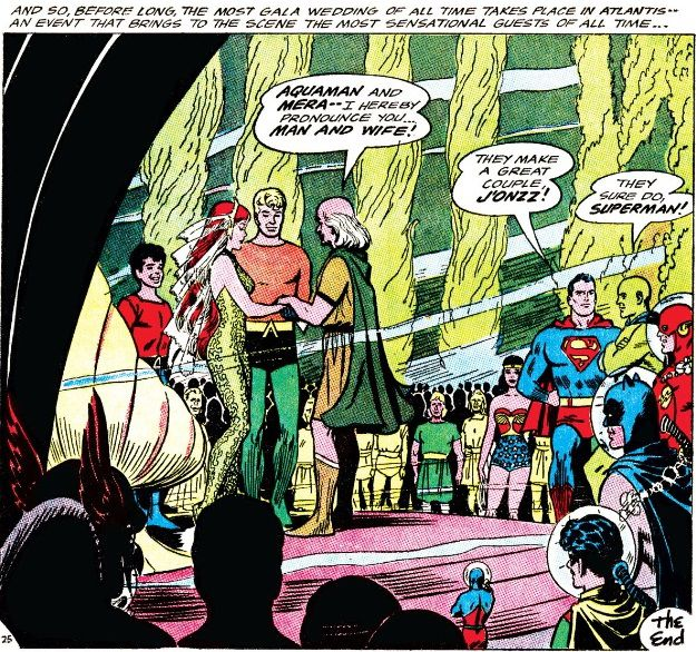 From Aquaman #18. Aquaman and Mera say their vows as Aqualad, Robin, the Justice League, and numerous Atlanteans look on.