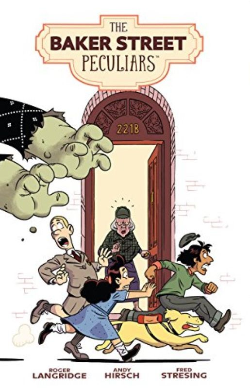 Three children and a dog walk past 221 Baker Street as Frankenstein-type arms grab them from behind.