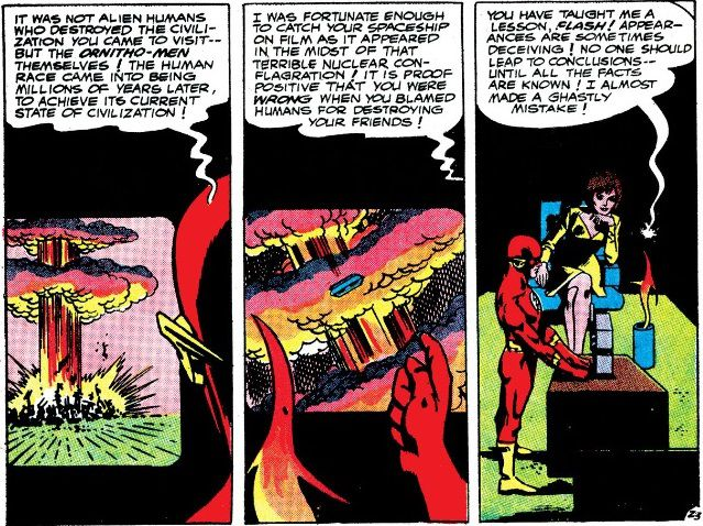 Flash, Iris, and Vardar watch videos of the ornitho-men's destruction. Vardar expresses remorse for blaming humans for the disaster.