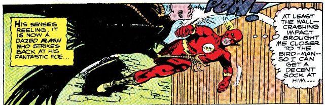 The Flash punches a man-bird hybrid.