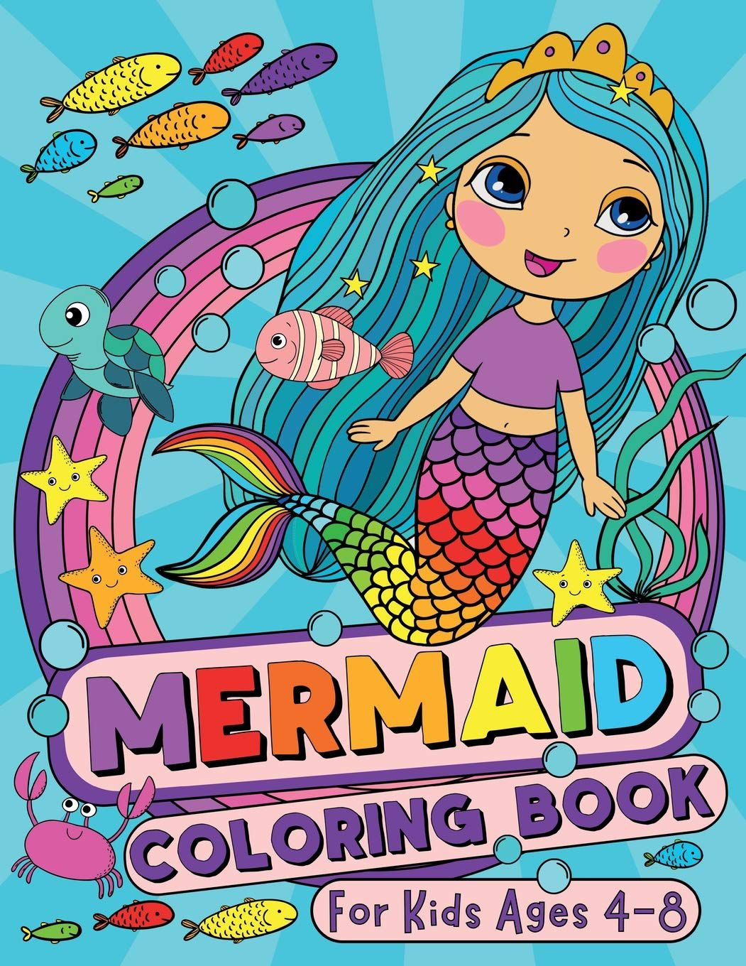 Mermaid Coloring Book by Silly Bear with a colored illustration of a mermaid with aqua hair on the cover