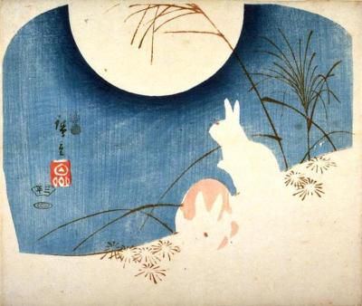 Image of an illustration of two rabbits under a full moon