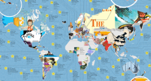 Map with covers of popular children's books in every country