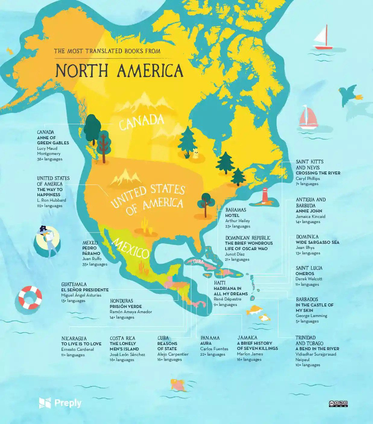 Most translated books in North America map