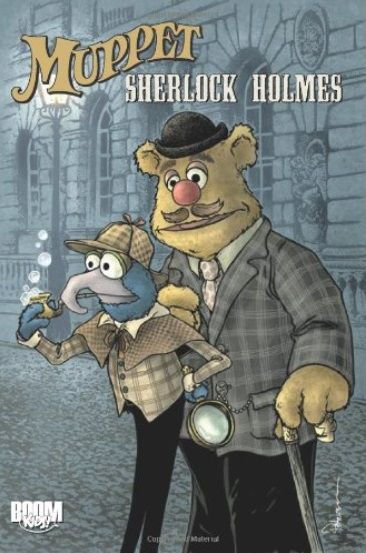 Gonzo as Holmes and Fozzie as Watson stand in a Victorian street.