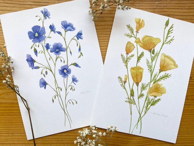 Flower Art Prints - California Poppy/Blue Flax illustrations - Watercolor