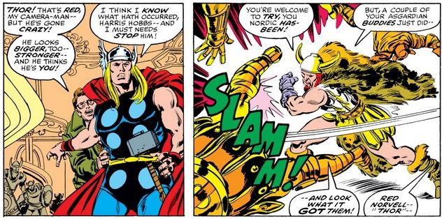 Thor and Hobbs are stunned to see a transformed Red Norvell easily beat up Asgardians.
