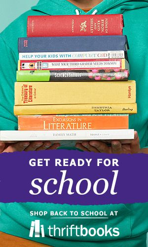 """""""Get ready for school"""" text with student holding stack of books and text """"Shop back to school"""" with ThriftBooks logo"""