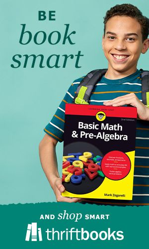 """Student smiling and holding Basic Math & Pre-algebra book with ThriftBooks logo and text """"Be book smart"""""""