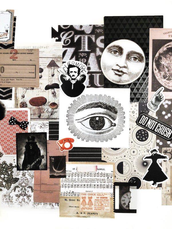 Assorted junk journal supplies including a moon, a clock, and an Edgar Allan Poe sticker.
