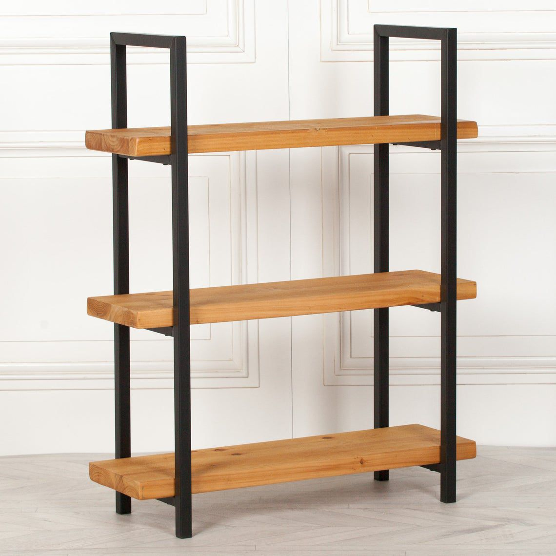 Rustic Pine Industrial 3 Tier Wooden Bookcase Shelving