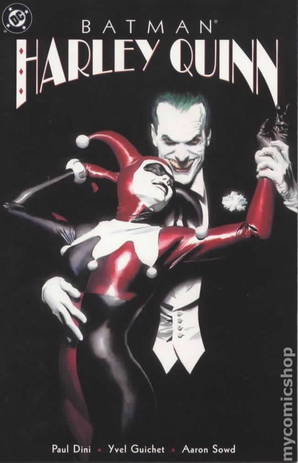 The cover to Batman: Harley Quinn, which is a painting by Alex Ross showing Harley in the Joker's arms. She's gazing up at him adoringly and he's smiling cruelly at the viewer.