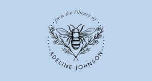 an Ex Libris stamp of a bee nested between flowers