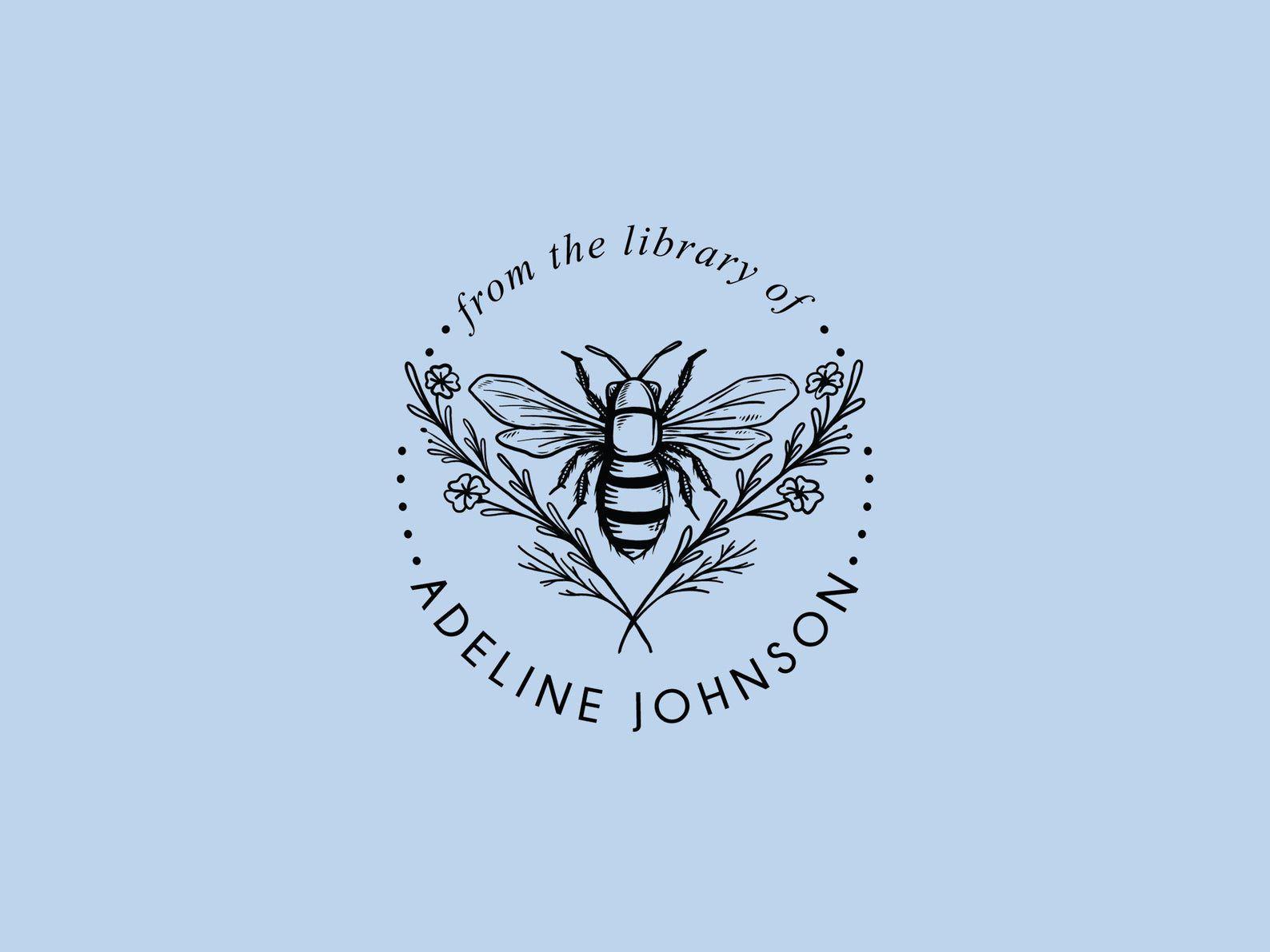 Image of ex libris bee stamp