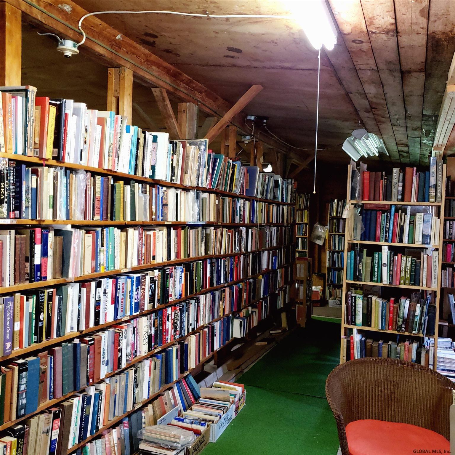 bookshelves inside Owl Pen Books