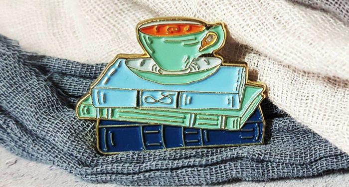 Tea and Books Enamel Pin