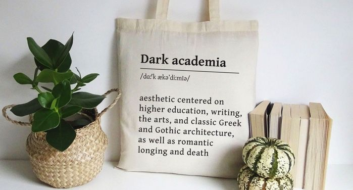 a tote bag bearing the definition of dark academia