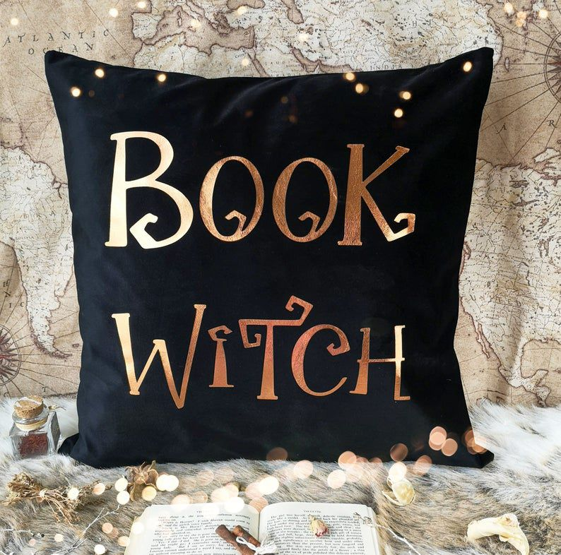 Book Witch velvet cushion cover.