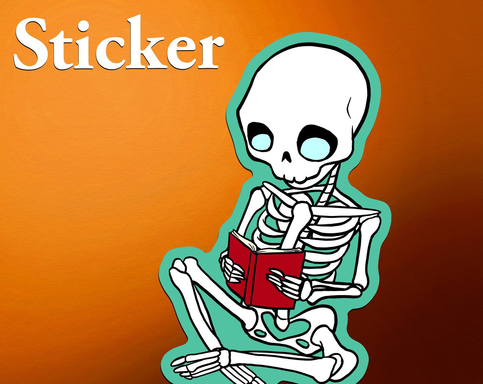 Image of a skeleton reading a book on and orange background.