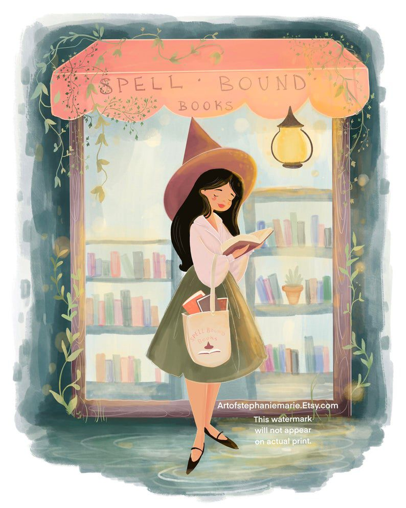 Image of bookshop witch print.