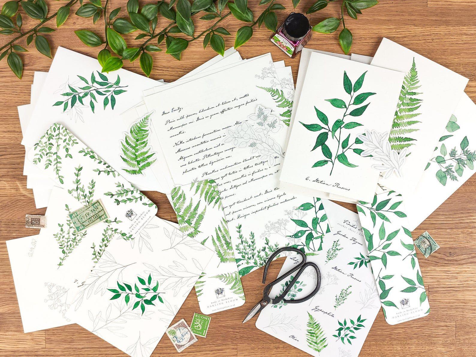 Leaf-printed paper and envelopes.