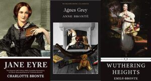 a collage of three book covers by the Bronte sisters: Jane Eyre, Wuthering Heights, and Agnes Grey