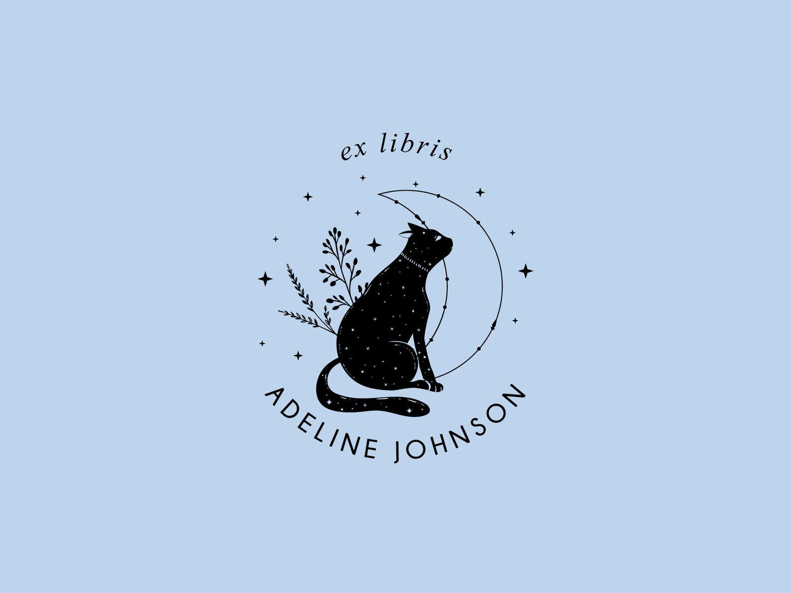 Cat book plate ex libris stamp