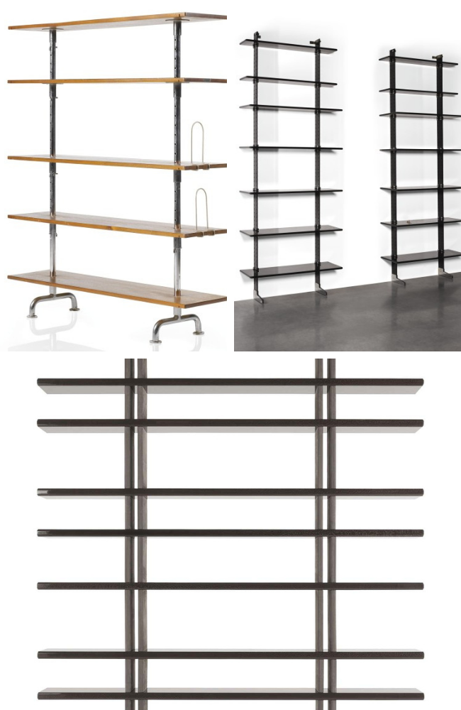 collage of three basic bookshelves