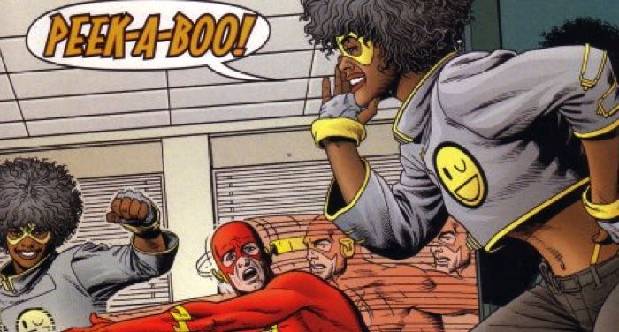 a closeup of the cover of The Flash #180 showing Peek-a-Boo and The Flash