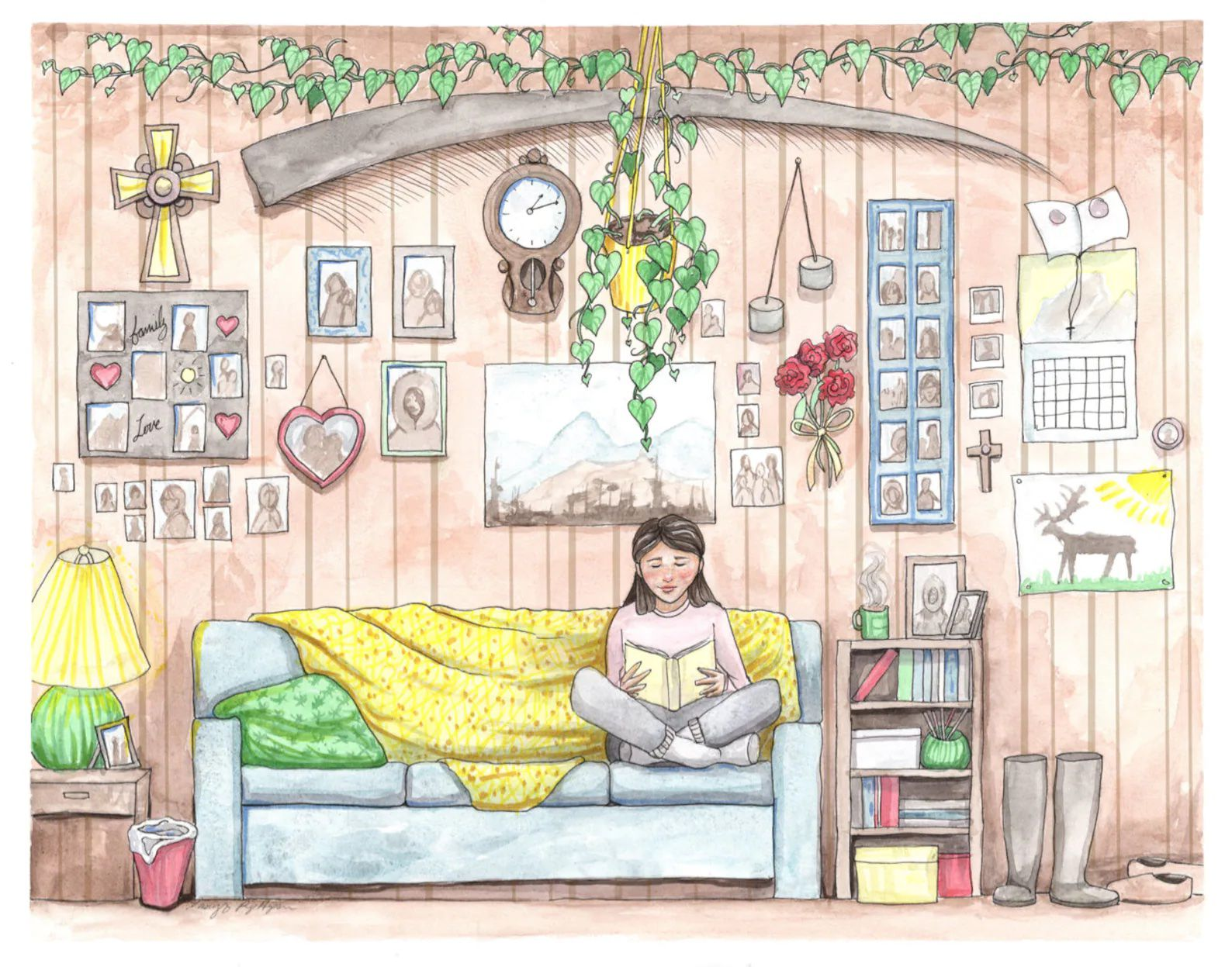 A watercolor print depicting a cozy living room with pictures and plants hanging on the wall, with a blue sofa in the center and an Inupiaq woman reading a book.