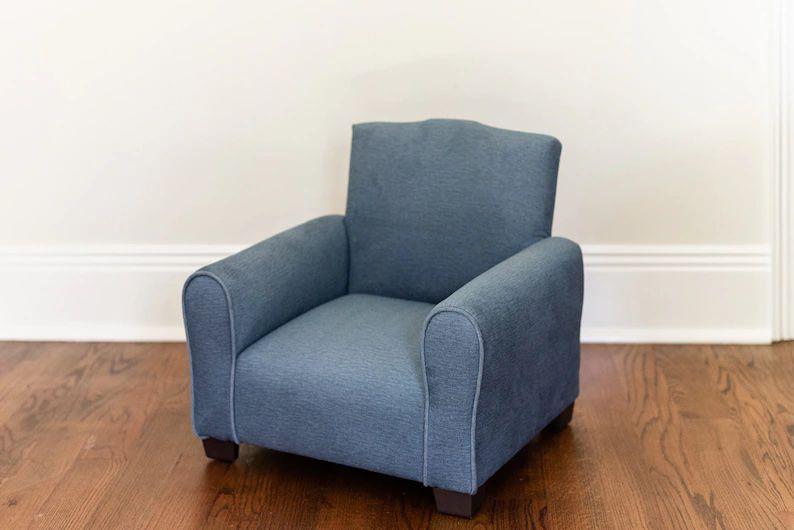 denim blue kid's armchair