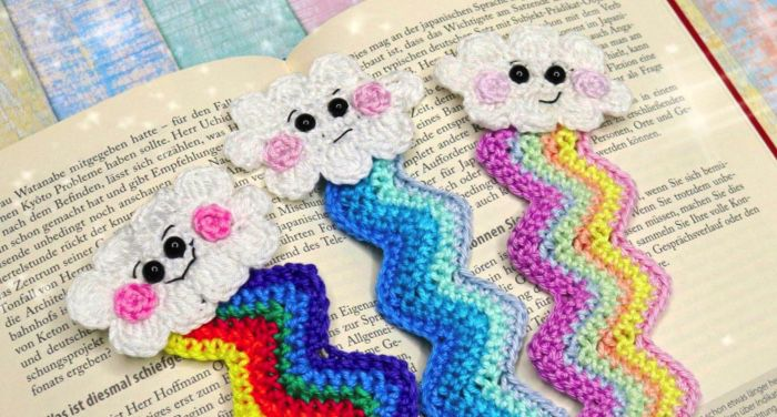 three cloud crocheted bookmarks